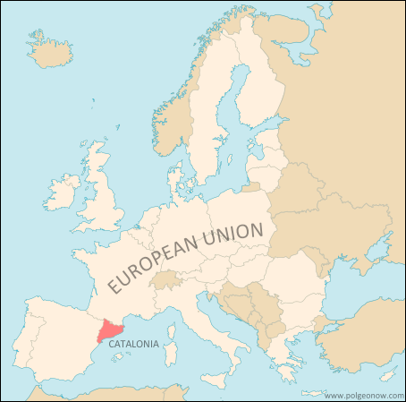 Map of Catalonia's location within the European Union
