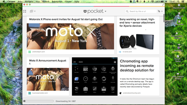 pocket packed chrome app