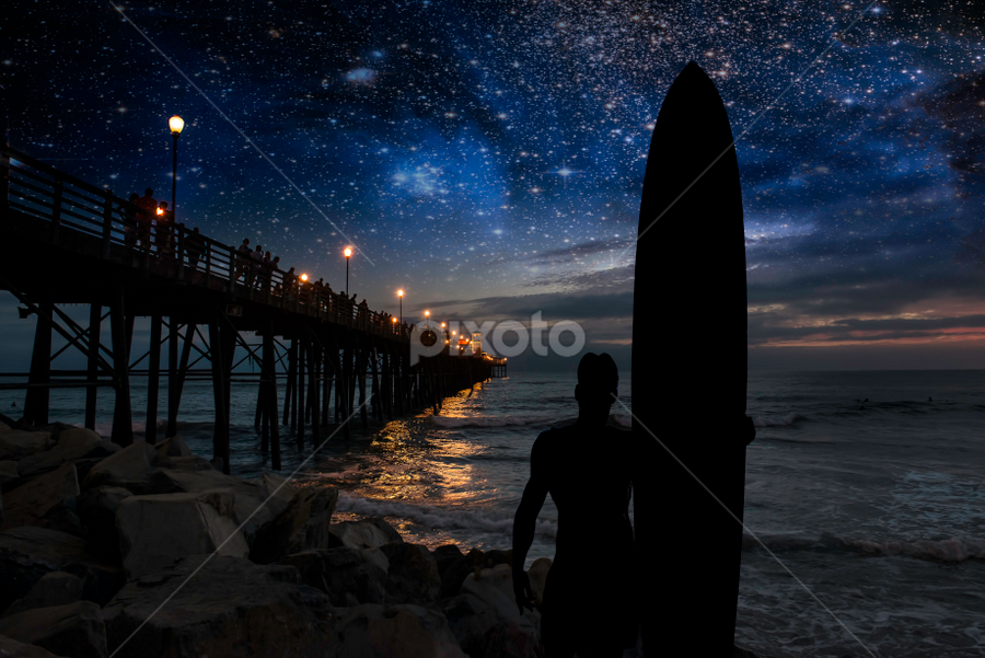 Dreaming of waves in Oceanside by Alan Crosthwaite - Landscapes Beaches ( dreaming, oceanside, dreams, waves, silhouette, coastal, silhouetted, nightscape, san diego, surf backgrounds, surfing, surfer, stars, longboard, surreal, surf )