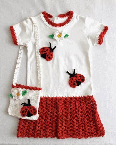 Inspiração: joaninha - vestido de crochê