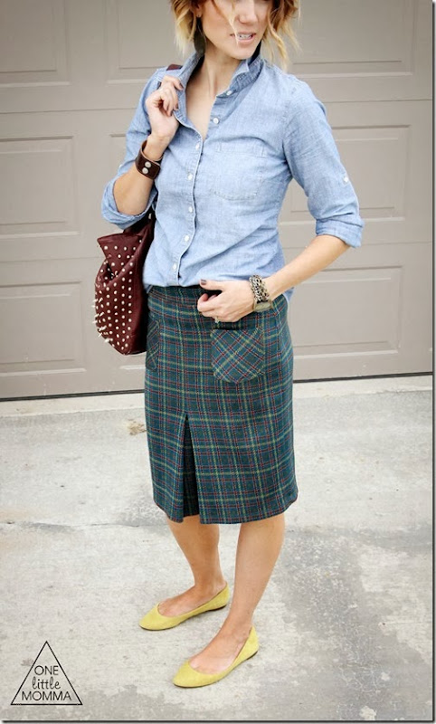 Chambray + Plaid Skirt + Flats