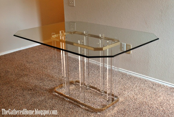 found: hollywood regency brass, glass & lucite tables - the
