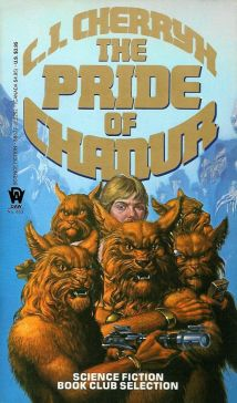 Cover of the novel The Pride Of Chanur by C J Cherryh. Image shows the sole human fugitive among five lion-like aliens of hani species.