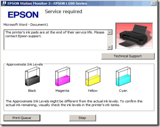 The printer's ink pads are at the end of their service life. Please contact Epson support