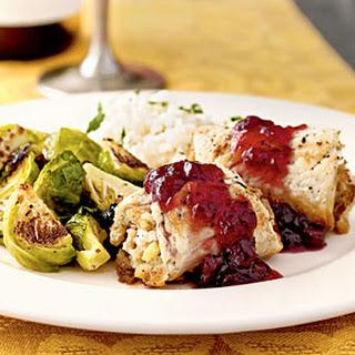 Stuffed Turkey Rolls with Cranberry Glaze.