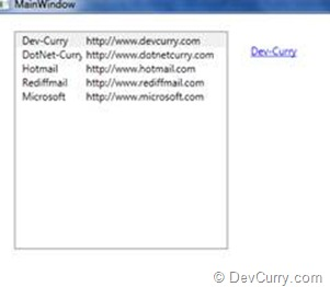 DevCurry: WPF 4: Change Hyperlink Text and URL using DataBinding