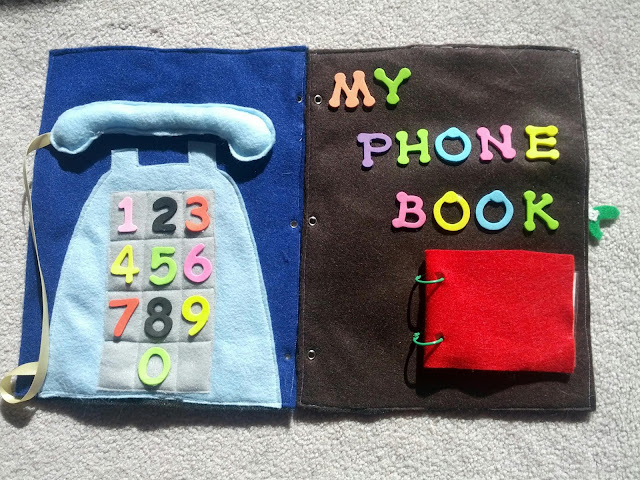 Telephone quiet book page from And Next Comes L