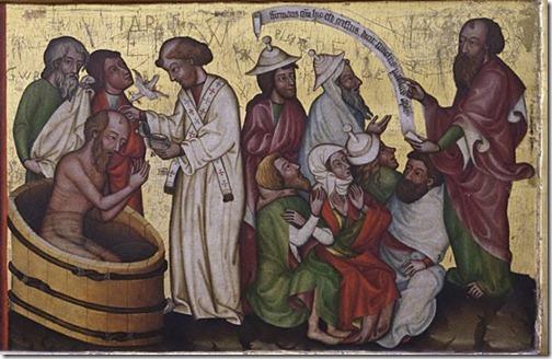 Mittelalterliche Darstellung: Taufe eines Mannes und danach Predigt