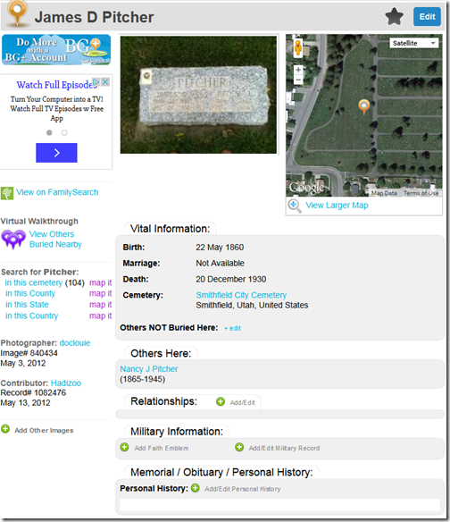 The Ancestry Insider: FamilySearch Publishes Find A Grave Index