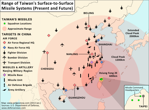 Map of Taiwan's missile capabilities, created for Taiwan in Perspective (https://michalthim.wordpress.com)