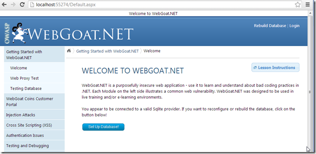 Dinis Cruz Blog: WebGoat NET in Action (and how I set-it up)