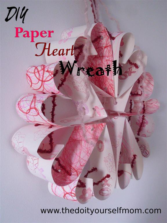 DIY Paper Heart Wreath Valentines Decoration And Preschool Craft In One
