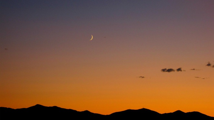sunset and moonset in Salt Lake City Utah