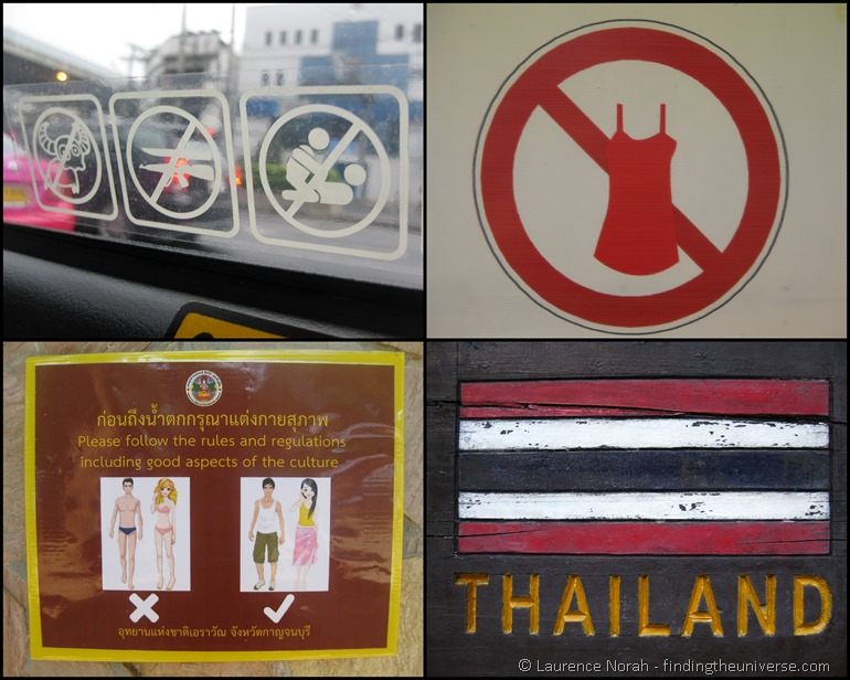 Thailand rules clothing sign