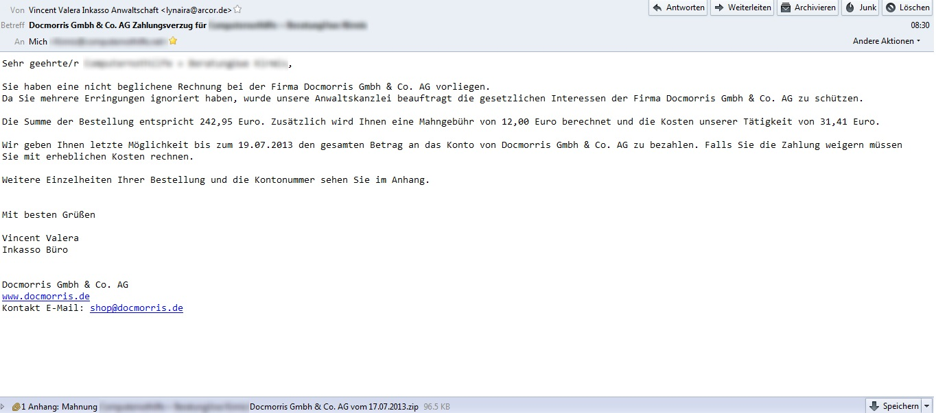 Malware Und Ich Mahnung Von Docmorris Gmbh Co Ag
