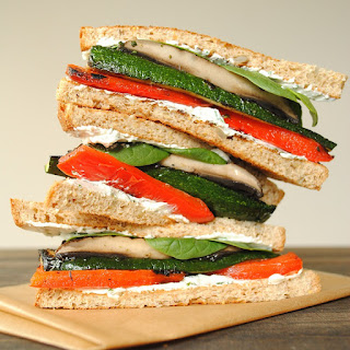 Grilled Vegetable Sandwiches with Herbed Goat Cheese.