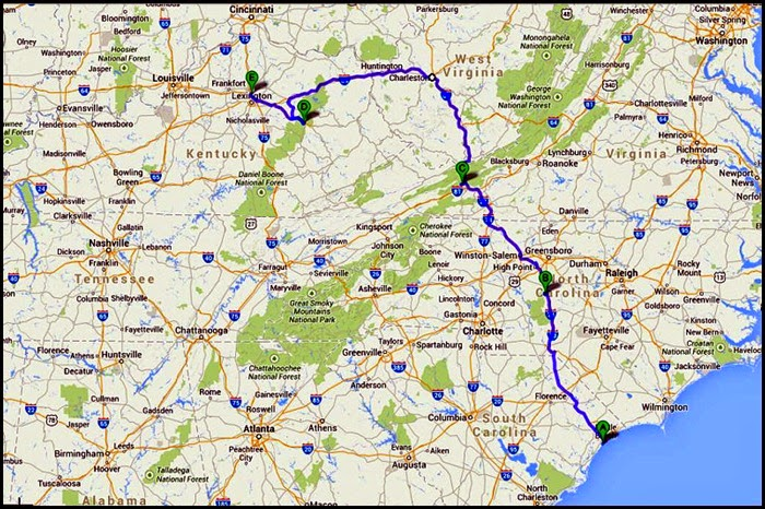 00 - Travel Map - total trip 61 miles