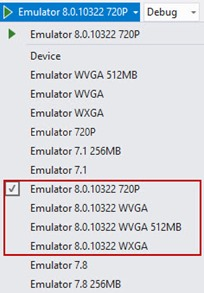 Windows Phone 8.0.10322 Emulators