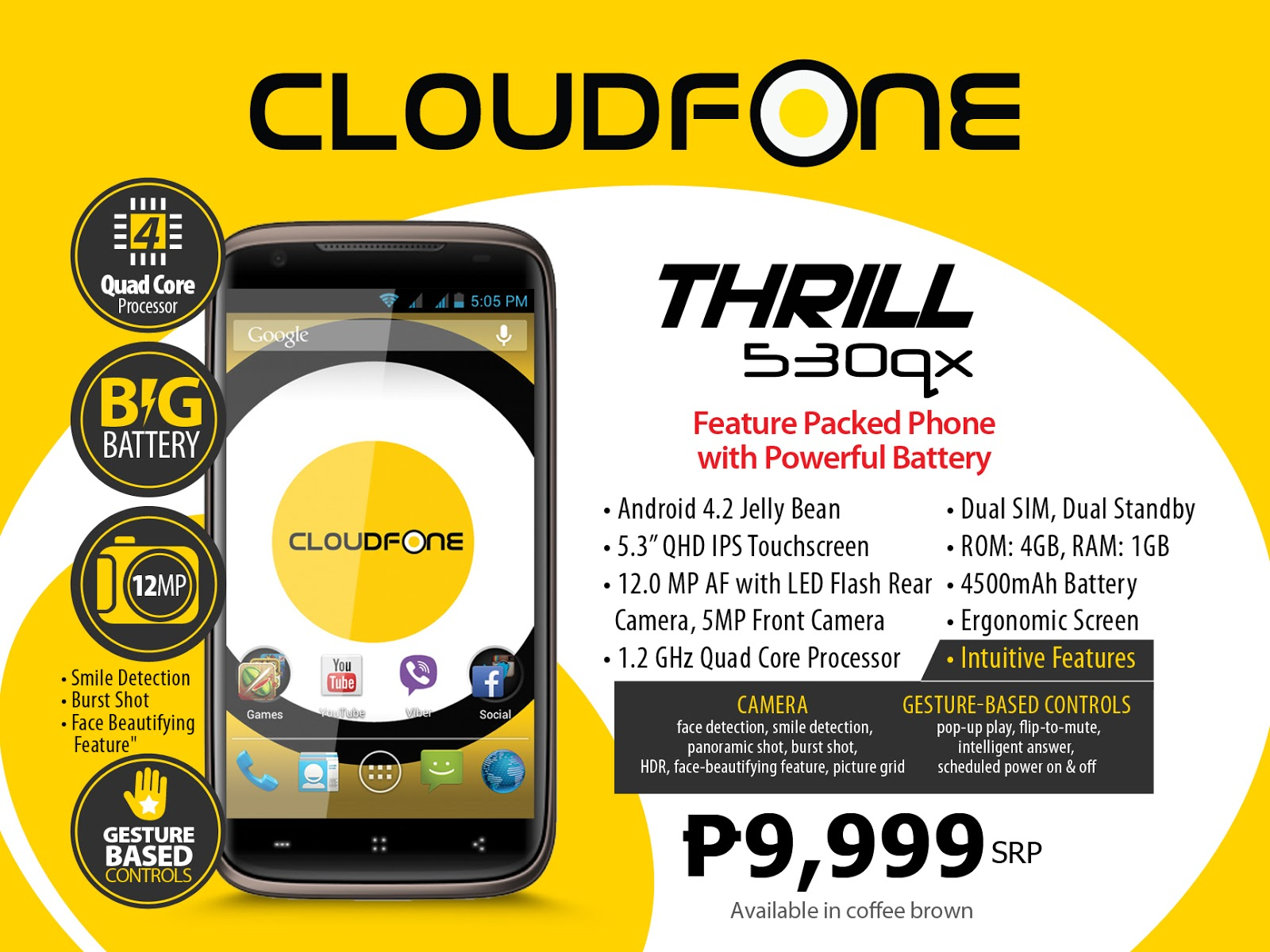 Cloudfone Thrill 530qx Announced, Features 5.3-inch Display, Quad-Core Processor, and 4500mAh Battery