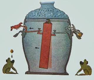 принцип работы маятникового приёмника инфразвуковой волны, дракон роняет шарик в пасть   лягушки