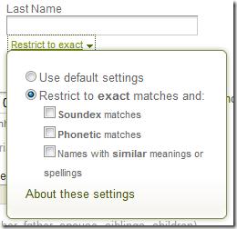 祖先.com advanced search form name filter