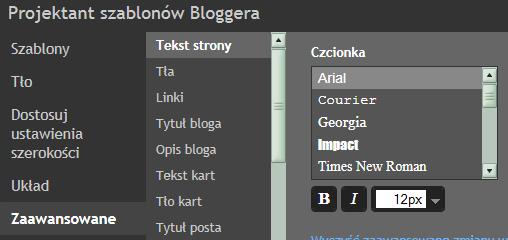 projekt szablonów blogger
