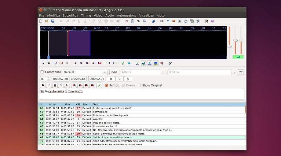 Aegisub completo editor di sottotitoli per Linux, Windows e