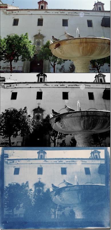 Brunnen in der Altstadt von Sevilla - Drei Bilder Farbe - Schwarzweiß - Cyanotypie (Blaudruck)