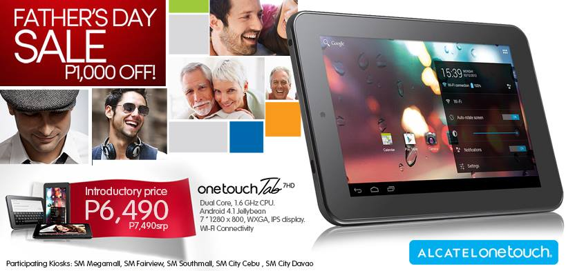 Alcatel One Touch Tab 7HD P1,000 Off Father's Day