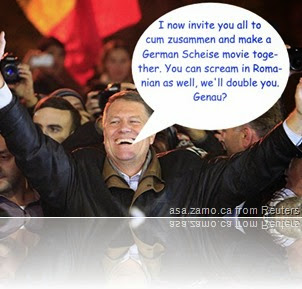 Klaus Iohannis celebrating: I now invite you all to cum zusammen and make a German Scheise movie together. You can scream in Romanian as well, we'll double and triple you. Genau?