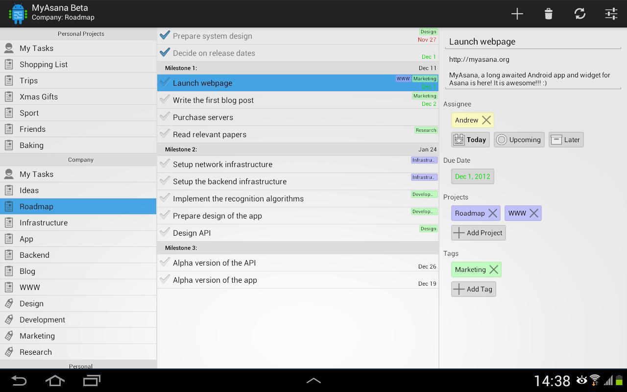 MyAsana - Asana Client - screenshot