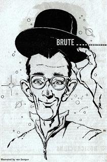 One of the illustrations by van Dongen accompanying the republication in Astounding Science Fiction magazine, British Edition, May 1958, of short story Brute Farce by Eric Frank Russell. Image shows the smart alec diplomat in the story wearing his supposedly ridiculous hat.