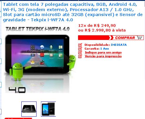 Wtfmob Novo Tablet Da Tekpix Por Apenas 3 5 Mil Reais