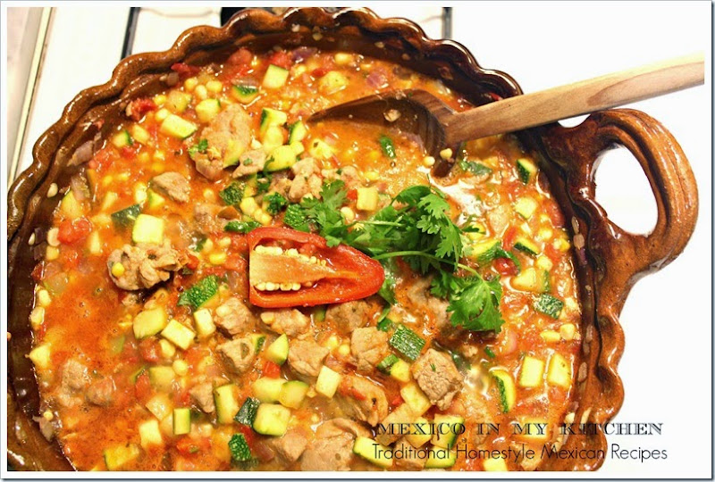 Pork with Zucchini and Corn Stew | Authentic Mexican Food Recipes