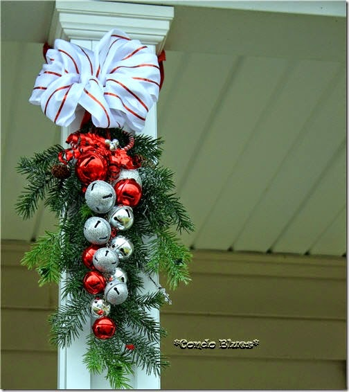 how to make an outdoor jinglebell evergreen Christmas swag