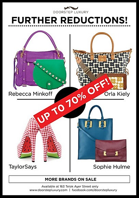 DOORSTEP LUXURY SALE 2013 OFFERS DESIGNERS SAMPLE  Zac Posen Z Spoke, Orla Kiely, Cambridge Satchels, Rebecca Minkoff, Sophie Hulme, Liebeskind handbags, accessories Taylor Says, T&F Slack Shoemakers Castaner shoes END OF SEASON