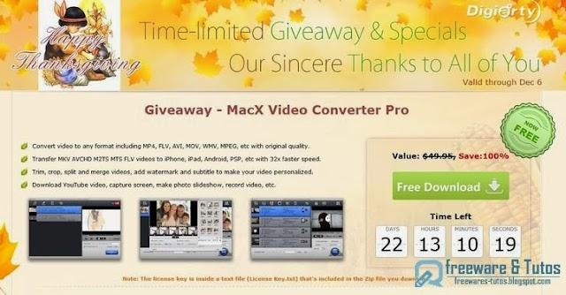 Offre promotionnelle : MacX Video Converter Pro Mac à nouveau gratuit pour Thanksgiving !