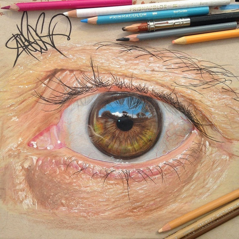 Hyper Realistic Eyes Drawn Using Colored Pencils