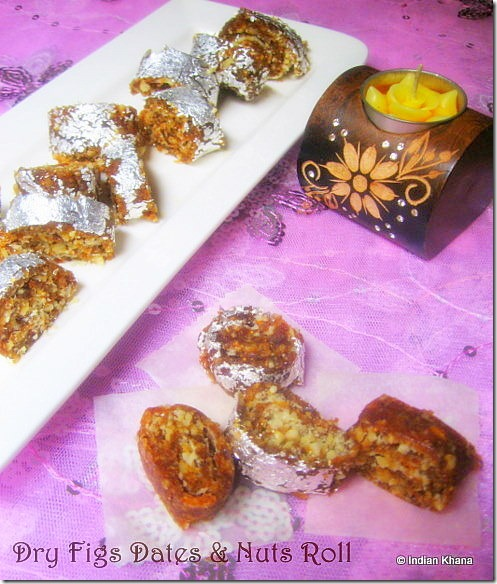 Anjeer Khajoor Chakra  Dry Figs Dates n Nuts Roll Recipe2