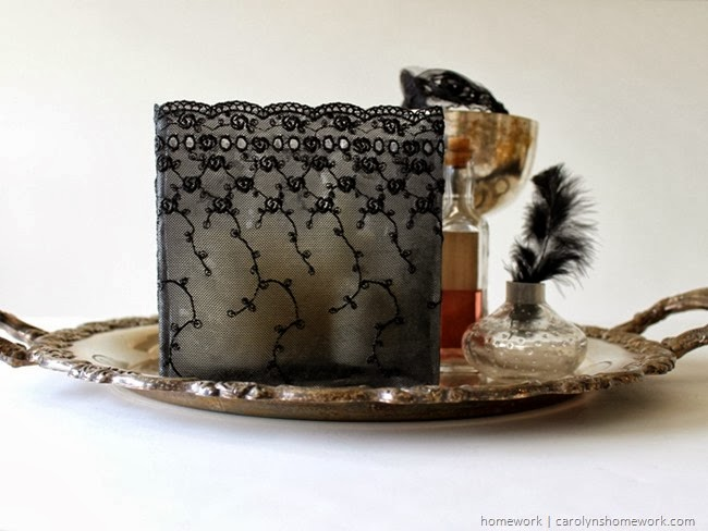 Black Lace Decoupage Votive for Halloween via homework | carolynshomework.com