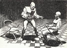One of the illustration by Miller accompanying the original publication in Astounding magazine of short story Private Enterprise by James E Gunn. Image shows the arrested human spy being interrogated by his Rigellian captors.