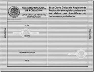 Imagen descriptiva de la CURP verde a color pero Blanco y Negro Certificada es oficial 2019 2020 2021