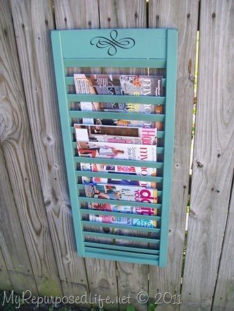 Repurposed Shutter Magazine Rack & Wooden Beverage Tags (shutter slats) - My Repurposed Life™ Pezcame.Com