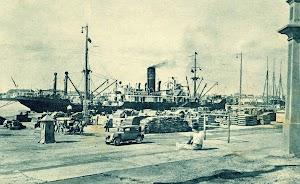 Los vapores de bandera extranjera eran mayoritarios en la exportación de frutas. Puerto de Valencia. POSTAL.jpg