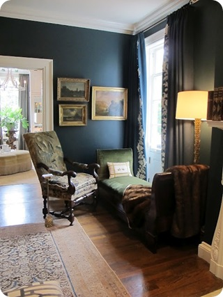 dark blue green walls