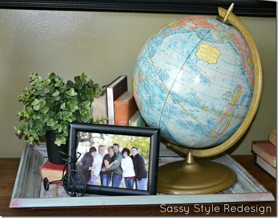 faux mantle display with globe