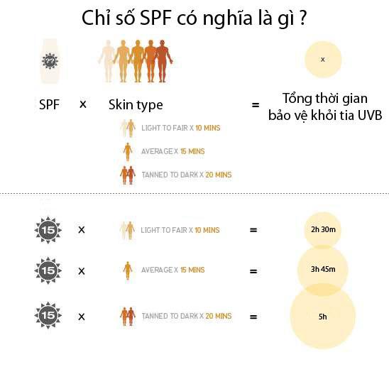 Ý nghĩa chỉ số SPF trên kem chống nắng (nguồn:chieclavotinh)