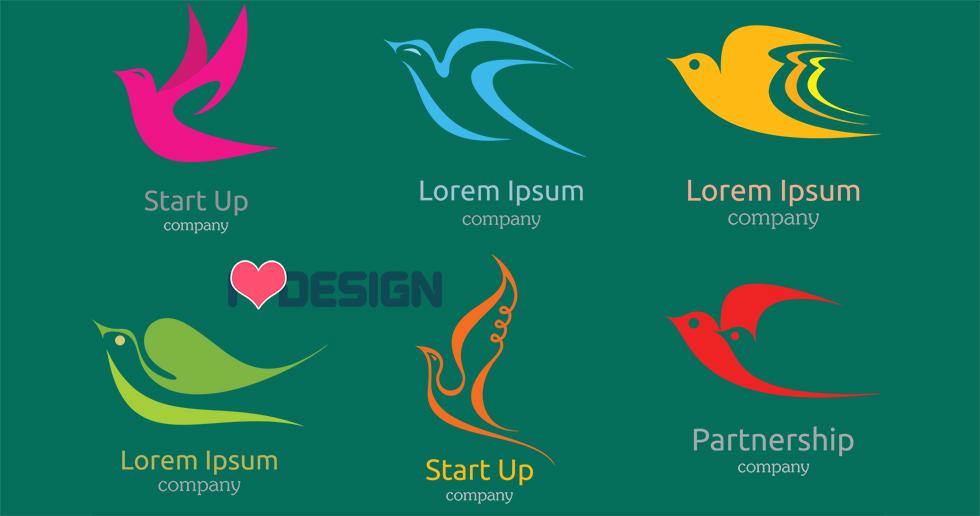Bộ Flat Logo hình chim cực đẹp và độc