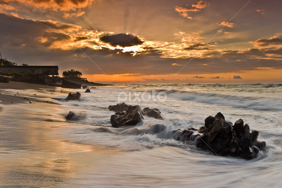 A Slight Rays by Choky Ochtavian Watulingas - Landscapes Beaches ( clouds, motions, waterscape, waves, csv, sunrise, beach, seascape, landscape, rocks, rays )