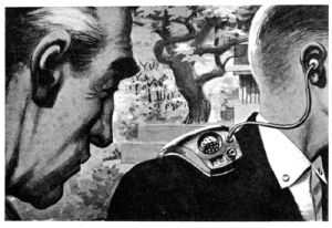 One of the illustrations by Wally Wood accompanying the original publication in Galaxy magazine of short story The Creature from Cleveland Depths by Fritz Leiber. Image shows a man wearing an early version of Tickler on his shoulder.